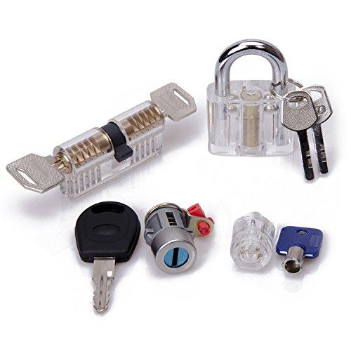 GOAMO 4pcs lock picking tools Transparent Visible Practice Kit Padlock Door Lock For Locksmith Beginners And Professionals - Practice Lock Cylinder