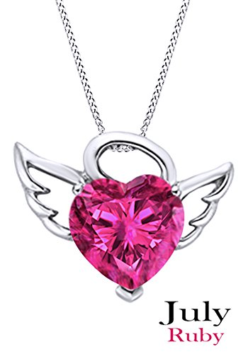 Angel Ruby Necklace - Simulated Ruby Angel Heart Pendant In 14K White Gold Over Sterling Silver