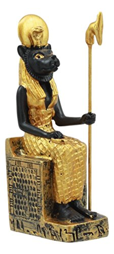 (Ebros Egyptian Classical Deities Miniature Figurine Gods of Egypt Dollhouse Miniature Statue Legends of Ancient Egypt Educational Sculpture Collectible (Sekhmet Seated On Throne))