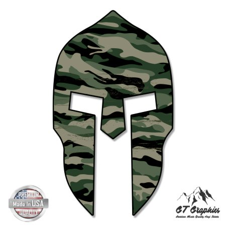 Spartan Helmet Army Camouflage - 20'' - Large Size Vinyl Sticker - for Truck Car Cornhole Board by GT Graphics