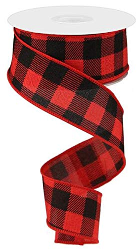 (Plaid Check Wired Edge Ribbon - 10 Yards (Red, Black, 1.5 Inches))