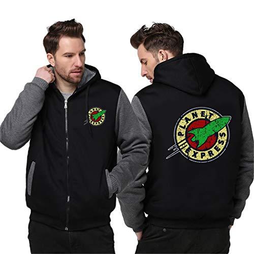 Julitia Men Women Planet Express Thicken Hoodie Zipper Coat Winter Fleece Warm Hooded