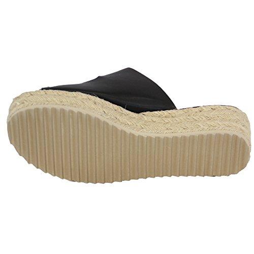 Ladies Platform Mule Sandals Womens Rope Line Strap Buckle Wedge Shoes Summer Black - 773 cp4QxEgCD
