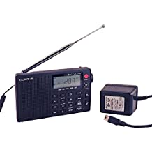 C Crane CC Skywave AM, FM, Shortwave, Weather and Airband Portable Travel Radio with Clock and Alarm with AC Adapter