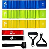 Odoland 5 Packs Resistance Loop Exercise Bands with Door Anchor and Handles, Rehab Bands with Carry Bag, Ebook for Core Exercise, Physical Therapy and at-Home Workouts