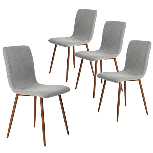 Coavas Dining Chairs Set of 4, Modern Kitchen Chairs with Fabric Cushion Seat Back, Mid Century Living Room Side Chairs with Brown Metal Legs for Kitchen Dining Room, Grey