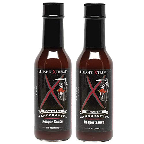 Elijahs Xtreme Carolina Reaper Hot Pepper Sauce with Sweet Black Cherries, Cranberries and Kentucky Bourbon (5 oz) (2-Pack)