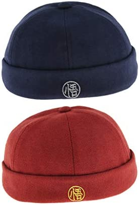 Fityle 2pcs Fashion Casual Men Retro Wool Docker Cap Hat Beanie Cap Adjustable Fisherman Hat