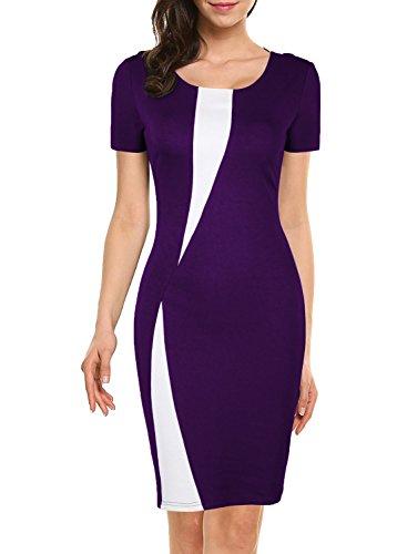 WOOSEA Women's Short Sleeve Colorblock Slim Bodycon Business Pencil Dress (XX-Large, Purple+White) - Juniors Colorblock Dress