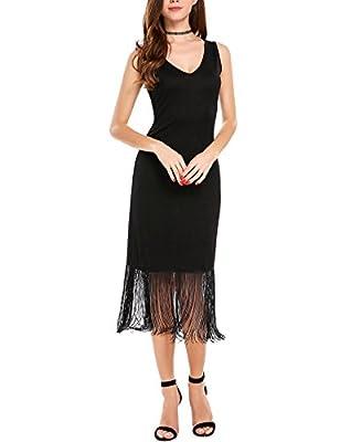 ANGVNS Women's Summer V Neck Casual Sleeveless Tassel Dress Fringed Swing Dress