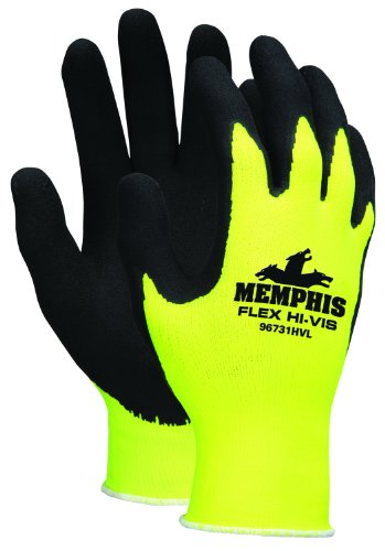 Memphis Glove 96731HVXL Flex Highly Visible Seamless Nylon Knitted Memphis Gloves with Black Foam Latex Dipped Palm and Finger, Yellow/Black, X-Large, 1-Pair (Chainsaw Pink Stihl)
