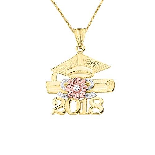 Dazzling 14k Tri-Tone Yellow Gold Diamond Class of 2018 Graduation Charm Pendant Necklace, 22