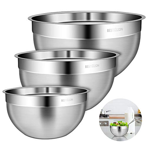BESTONZON Durable 304 Stainless Steel Mixing Bowls for Serving, Baking, Cooking Supplies, Nesting Set of 3 Includes 1 Qt, 3 Qt, 4 Qt (4 Qt Mixing Bowl)
