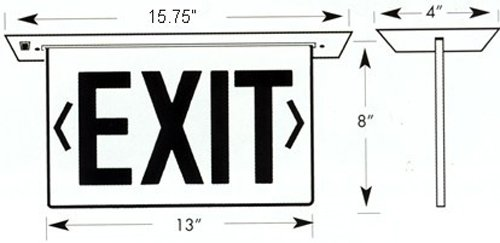 Morris Products LED Exit Sign – Recessed Mount Edge – Green on Clear Panel, Anodized Aluminum Housing – Compact, Low-Profile Design – Double Sided Legend – Energy Efficient, High Output – 1 Count