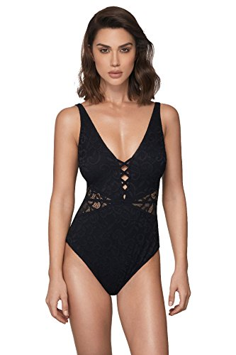 Profile by Gottex Women's Thick Strap V-Neck Cup Sized One Piece Swimsuit, Shalimar Black, 12D