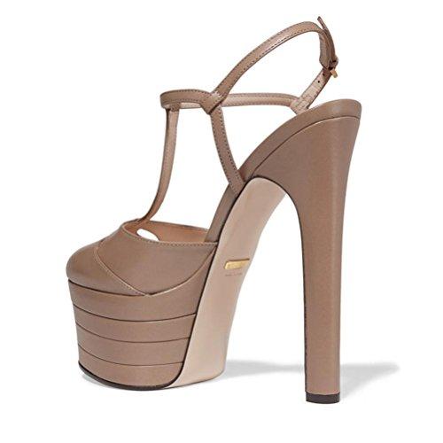 xie Épais fond sandales après la boucle sangle côté espace tête ronde imperméable à l'eau taïwanais fine talon Hentian haute chaussures pour femmes blue stripes NoEU9