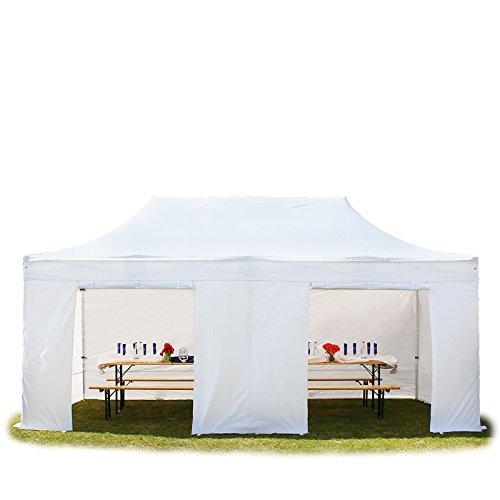 Faltpavillon Faltzelt Pavillon Klappzelt 4x8 m - ca. 500g/m² Plane + ca. 50mm Aluminiumgestänge - Zelt Partyzelt Gartenzelt Sonnenschutz Markstand Popup, mit 4 Seitenteilen, weiß