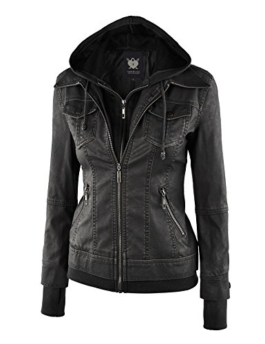 Wjc664 Womens Faux Leather Jacket With Hoodie Xs Black