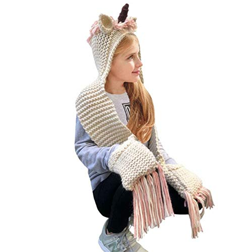 Lovely Kids Winter Cartoon Unicorn Hat With Scarf Hooded Knitted Beanie Cosplay Photography Prop -