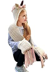 D-Fokes Lovely Kids Winter Cartoon Unicorn Hat with Scarf Hooded Knitted Beanie Cosplay Photography Prop