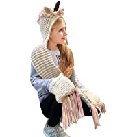 Kids Winter Unicorn Hats Knitted Earflap Hood Scarves Animal Ear Cap Beanies