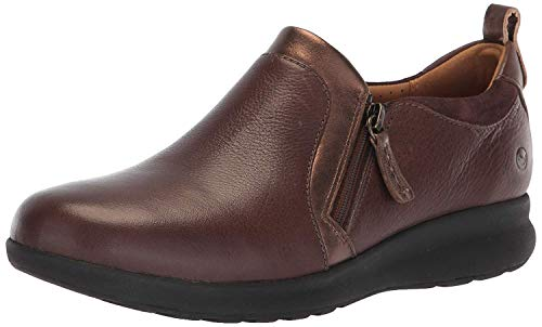 CLARKS Women's Un Adorn Zip Sneaker, Dark Brown Leather/Suede Combi, 80 M US