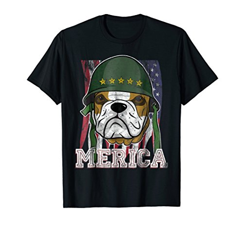 Merica Pitbull Bulldog 4th of July American Flag T - Bulldog Patriotic Pit