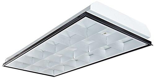 VaOpto VO-TF-24L18-3 T8 LED 3-Light, Parabolic LED Troffer, Multi-Volt, Silver, Grid Ceiling 2' x 4', (Parabolic Louvers)