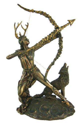 Bronzed Finish Artemis Moon Goddess Greek Statue Diana by Pacific Giftware