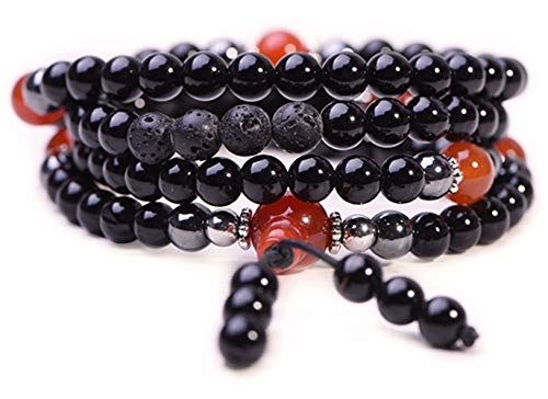 Onyx Bracelet - Prayer Beads - Anxiety Bracelet - Wrap Bracelet - Mala Beads - Tibetan Bracelet