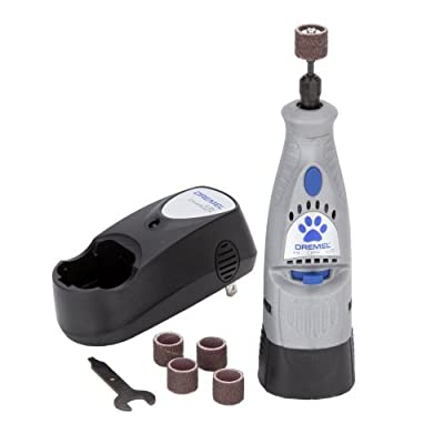 Dremel 7300-PT 4.8V Cordless Pet Dog Nail Grooming & Grinding Tool, Safely & Humanely Trim Pet & Dog Nails, Grey