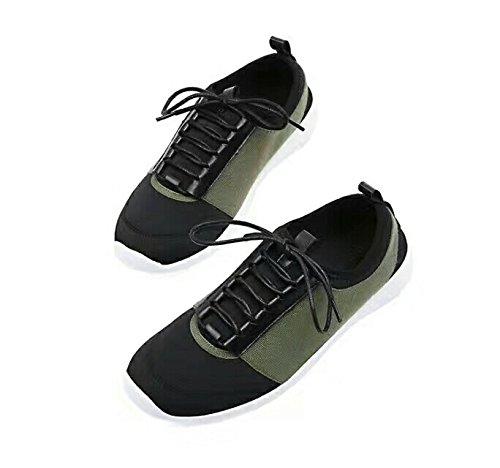 DYF Frauen Stil Stickerei Nude Schuh nationalen Stil Frauen Flachbild Buchstabiere Farbe 100-lap Green 5ea353