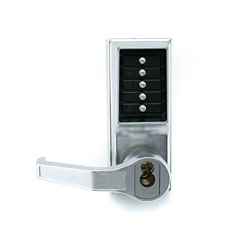 Kaba Simplex 8100 Series Metal Mechanical Pushbutton Mortise Lock with Lever, Key Override, Passage, Lockout, R/C Schlage, Core Not Included, Satin Chrome Finish, Left Hand Reverse
