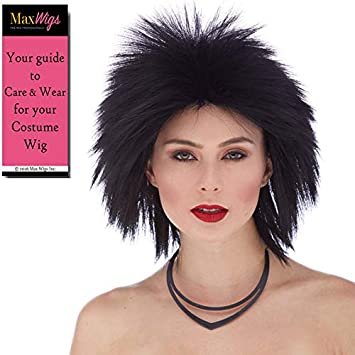 Amazon.com: Short Punk Rocker Color 1 Black - Sepia Wigs Pat ...