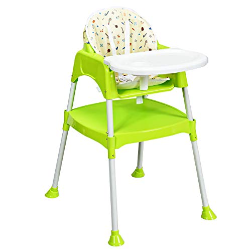 Costzon Convertible High Chair, 4 in 1 Table and Chair Set, Snacker High Chair Seat, Toddler Booster Furniture, Baby Feeding with Tray & Cup Holder ()