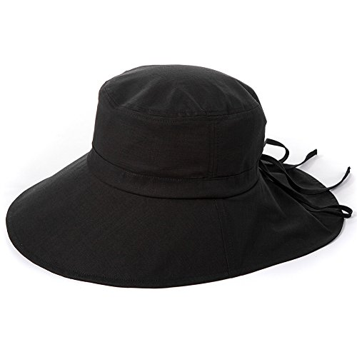 Siggi Womens Summer Flap Cover Cap Cotton UPF 50+ Sun Shade Hat with Neck Cord Wide Brim Black (SIZE:57CM)
