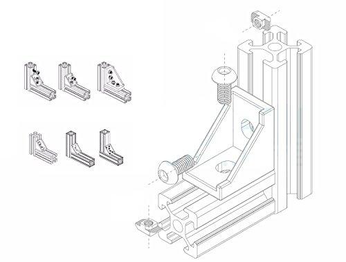 PZRT 2020 Series Aluminum Profile Connector Set, 20pcs Corner Bracket,40pcs M5 x 10mm T-slot Nuts, 40pcs M5x10mm Hex Socket Cap Screw Bolt for 6mm Slot Aluminum Profile Accessories by PZRT (Image #3)
