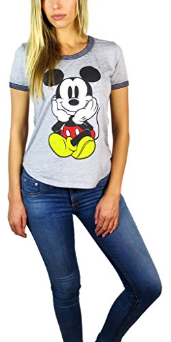 Disney Womens Mickey Mouse Burnout Ringer Tee Chillin Heather Grey (Chillin Heather Grey, Small) ()