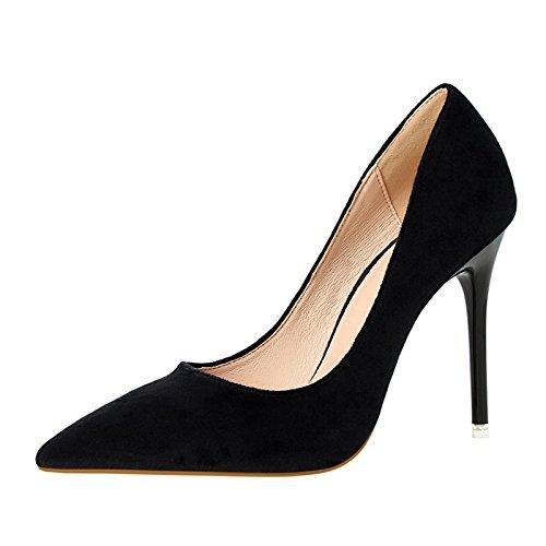 YMFIE primavera y el verano son simples sharp moda elegante gamuza sexy zapatos de tacón alto solo zapatos de damas zapatos de trabajo.34 UE,negro 34 EU
