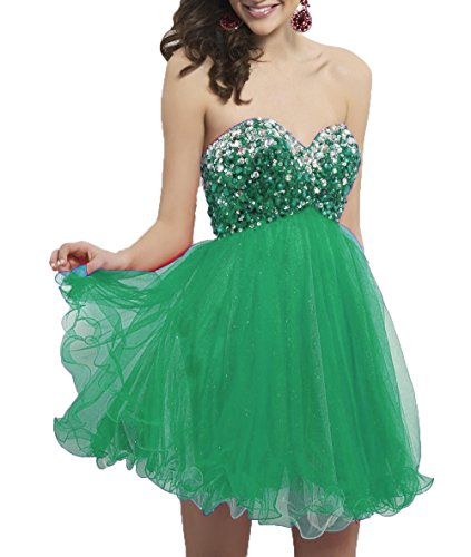 Short Party Beads Prom Tulle Homecoming Sweetheart DKBridal Women's Gown Sequins Green Dress Evening qwpfwS4x