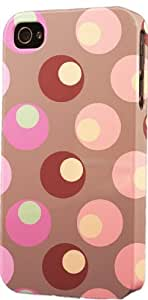 Brown Pink Circle Pattern Dimensional Case Fits Apple iPhone 6