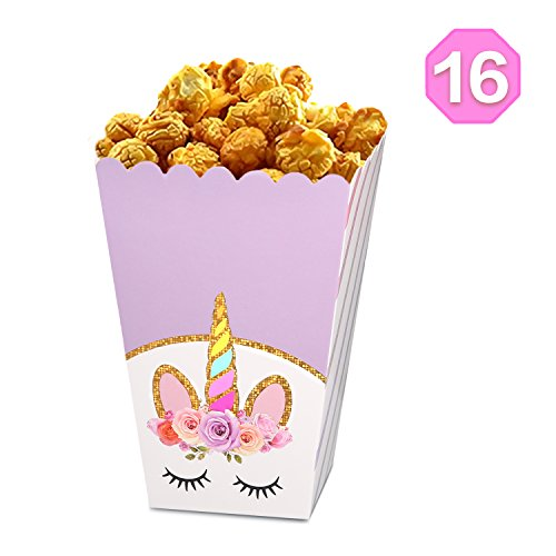 Rainbow Unicorn Popcorn Candy Treat Boxes | Large Size - Glitter Unicorn Horn Design | Magical Unicorn Party Supplies - Birthday Party Favors Cardboard Popcorn Container | Set of 16