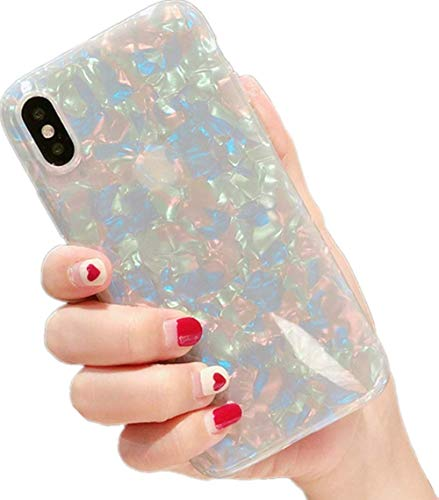 Lustre Shell - iiPhone X Case for Women,Cute iPhone X Case for Girls,LuoMing Glitter Pearly-Lustre Translucent Shell Soft TPU Phone Case for iPhone X 5.8 Inch (X Colorful)