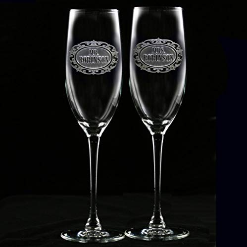 Mr. and Mrs. Champagne Wedding Glasses Personalized, Set of 2 by Crystal Imagery Engraved Glass Gifts