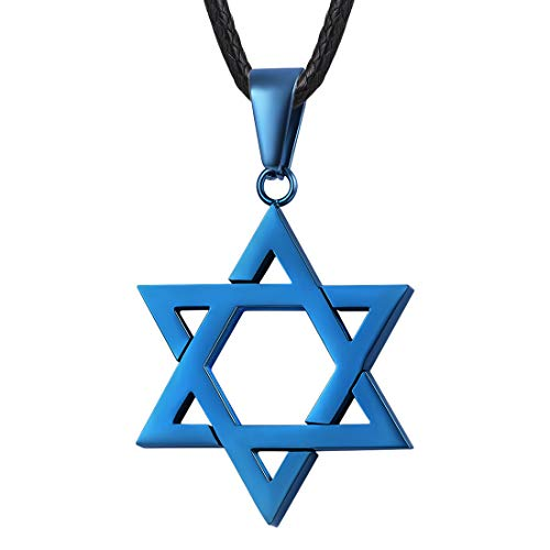 (U7 Ion-Plating Blue Star of David Necklace Alchemist Gift Megan Six-Pointed Star Pendant with 2mm Wide Black Leather Cord Chain 26