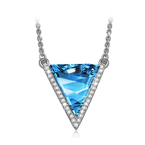Swarovski Crystal Triangle (LadyColour Ocean Blue Triangle Swarovski Crystals White Gold Plated Pendant Necklace Women Fashion Jewelry Christmas Birthday Anniversary Gifts For Girlfriend Wife Best Friend)