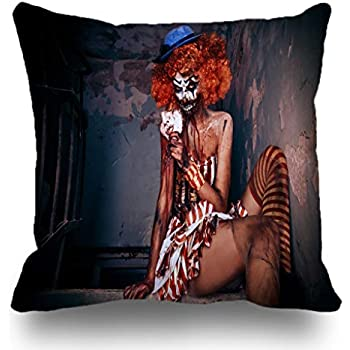 Batmerry Halloween/Thanksgiving Theme Decorations Pillow Covers 18 x 18 inch,Bloody Scary Circus Halloween Sexy Creepy Carnival Horror Monster Eyes Throw Pillows Covers Sofa Cushion Cover Pillowcase