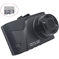 Dash Cam with 16GB MicroSD Card, 3.0 Screen Full HD 1080P Dashboard Camera for Cars,170 Degree Wide Angle with G-sensor, Loop Recording, WDR Night Vision, LYNIFY Vanward Car DVR