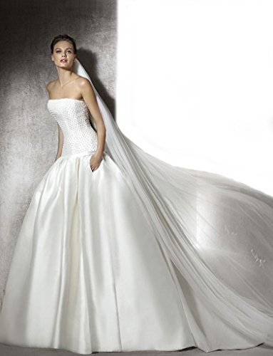 Gogh White NEW! Satin Sweetheart Ball Gown with Button Back Size US10 by Gogh