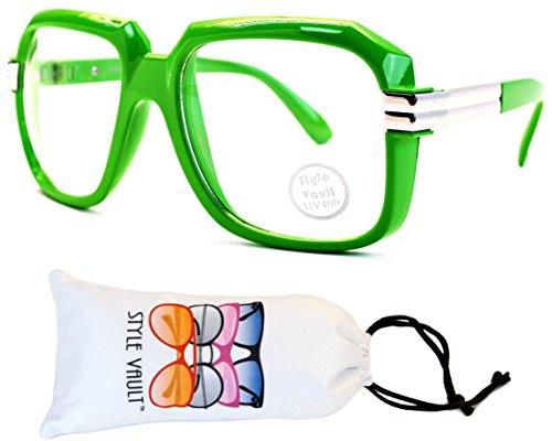 E02-vp Style Vault Aviator Turbo Glasses Eyeglasses (B2905F Green/Silver-Clear, - Trend Glasses Eye